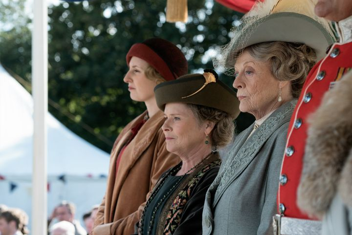 "Laura Carmichael stars as Lady Edith, Imelda Staunton as Maud Bagshaw and Dame Maggie Smith as Violet Crawley in ""Downton Abb"