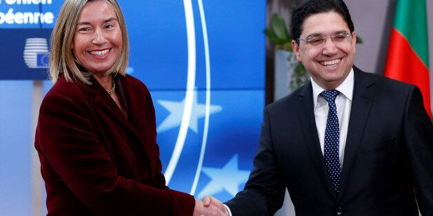 European Union foreign policy chief Federica Mogherini welcomes Morocco's Foreign Minister Nasser Bourita...