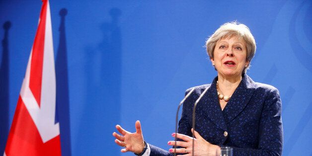 Britain's Prime Minister Theresa May during a news conference with German Chancellor Angela Merkel in...