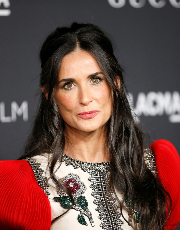 Actor Demi Moore poses at the Los Angeles County Museum of Art (LACMA) Art+Film Gala in Los Angeles, October 29, 2016.