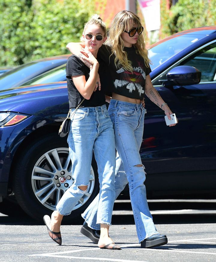 Miley Cyrus and Kaitlynn Carter seen in Los Angeles earlier this month.