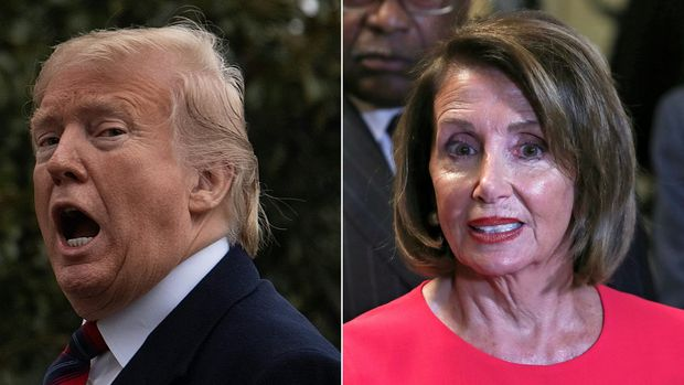 """(COMBO) This combination of file pictures created on January 20, 2019 shows US President Donald Trump as he arrives at the White House in Washington, DC, on January 19, 2019,and Speaker of the House Nancy Pelosi (D-NY) outside the House Chamber on Capitol Hill in Washington, DC on January 3, 2019. - US President Donald Trump bitterly attacked top Democrat Nancy Pelosi on January 20, 2019 after she rejected a deal on immigration and the Mexico border wall that would end a 30-day-old government shutdown. Pelosi, speaker of the House of Representatives, on January 19, 2019 called Trump's offer of temporary protections for about a million immigrants in return for $5.7 billion to fund the wall a """"non-starter.""""""""Nancy Pelosi has behaved so irrationally & has gone so far to the left that she has now officially become a Radical Democrat,"""" Trump tweeted. """"She is so petrified of the 'lefties' in her party that she has lost control."""" (Photos by Jim WATSON and Alex Edelman / AFP)        (Photo credit should read JIM WATSON,ALEX EDELMAN/AFP/Getty Images)"""