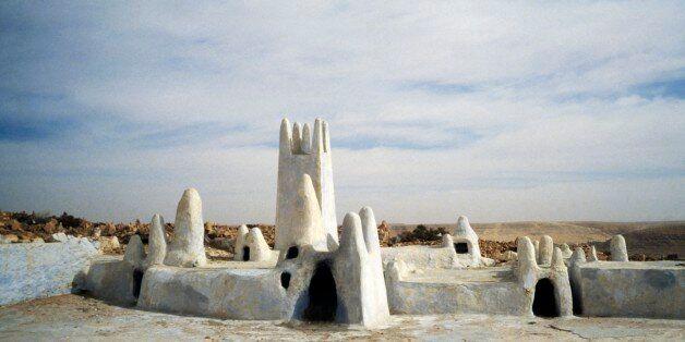 ALGERIA - MARCH 5: Sidi Aissa tomb, Malika, Ghardaia, M'Zab Valley (UNESCO World Heritage List, 1982),...