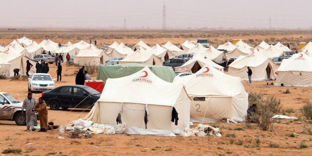 A general view shows a camp for displaced people from the Libyan town of Tawergha, 260 km east of the...
