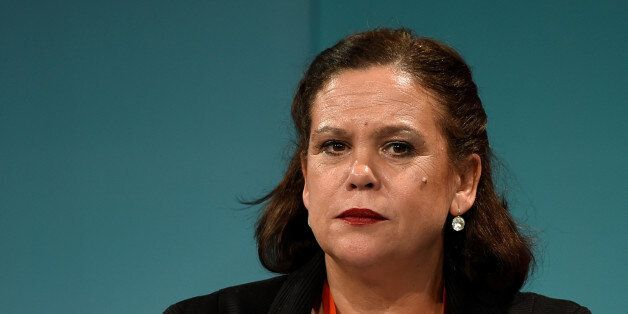 Sinn Fein deputy leader Mary Lou McDonald looks on during the Sinn Fein annual conference in Dublin,...