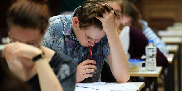 High school students take the philosophy exam, the first test session of the 2017 baccalaureate (high...