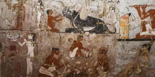 A general view shows well-preserved and rare wall paintings inside the tomb of an Old Kingdom priestess...