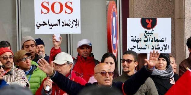 Manifestation des guides touristiques devant le ministère du Tourisme à Rabat, lundi 29 janvier