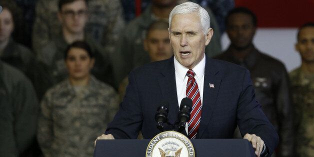 U.S. Vice President Mike Pence addresses U.S. military personnel at Yokota Air Base in Fussa, Tokyo Metropolis,...