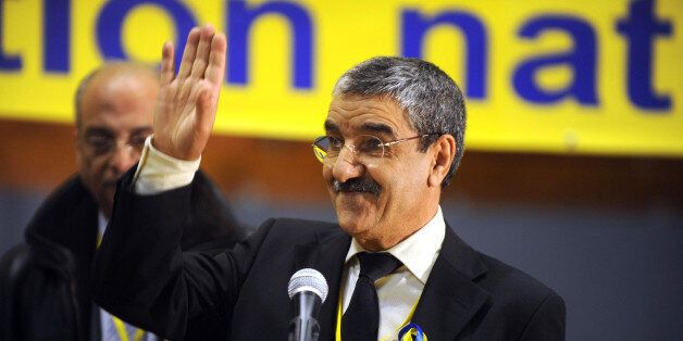 Said Sadi, head of the opposition Rally for Culture and Democracy (RCD) gestures on March 9, 2012 during...