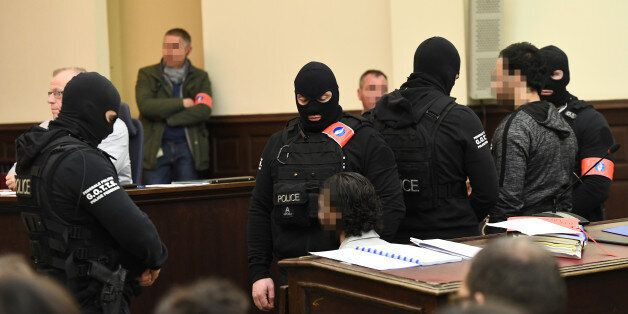 Salah Abdeslam, one of the suspects in the 2015 Islamic State attacks in Paris, appears in court during...