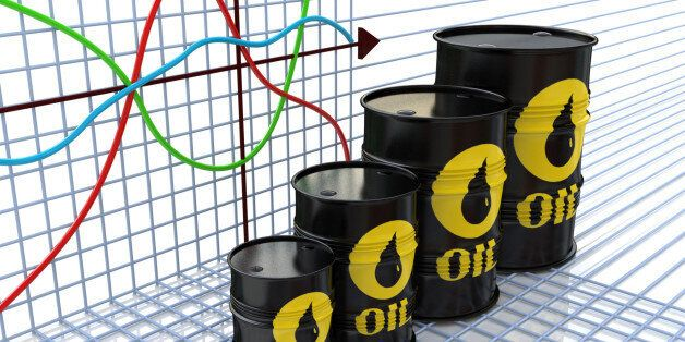 One row of oil barrels and a financial chart on background (3d render) in the design of the information...