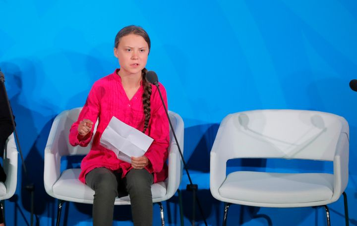 Climate activist Greta Thunberg speaks at the United Nations Climate Action Summit at U.N. headquarters in New York on Sept.