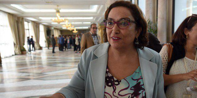 Member of Tunisia's secular Nidaa Tounes party, Bochra Belhaj Hmida, talks to journalists after she announced...