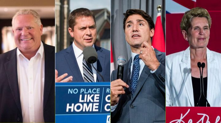Ontario Premier Doug Ford, Conservative Leader Andrew Scheer, Liberal Leader Justin Trudeau and former Ontario premier Kathleen Wynne are shown in a composite image.