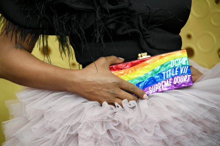 Laverne Cox brought a rainbow-striped Edie Parker clutch to the 2019 Emmy Awards on Sunday that boasted a pro-LGBTQ message.&