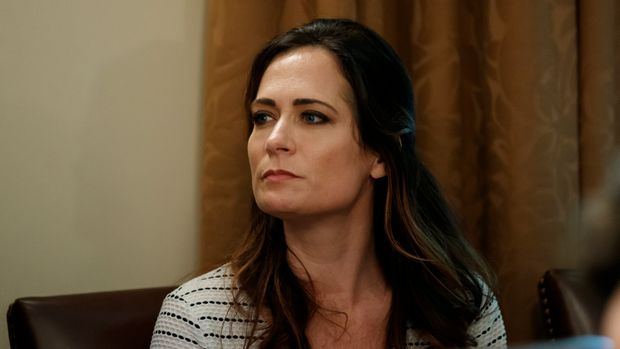 White House press secretary Stephanie Grisham listens during a Cabinet meeting in the Cabinet Room of the White House, Tuesday, July 16, 2019, in Washington. (AP Photo/Alex Brandon)