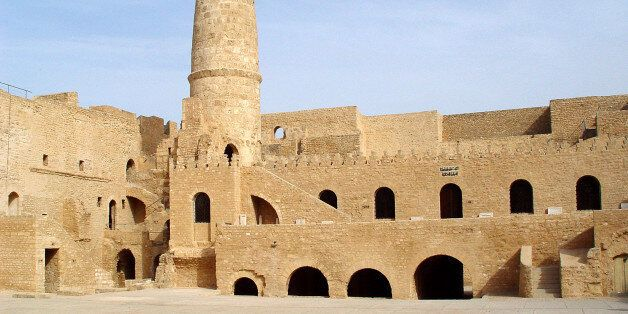 Stone fortress (ribat) with a tower in the city of Monastir.