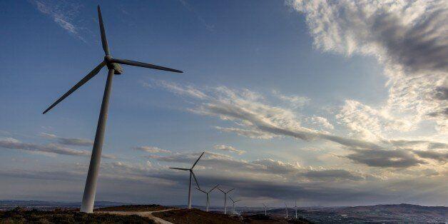 BIZERTE, TUNISIA - SEPTEMBER 18: Wind turbines are seen at El Alia town of Bizerte, Tunisia on September...