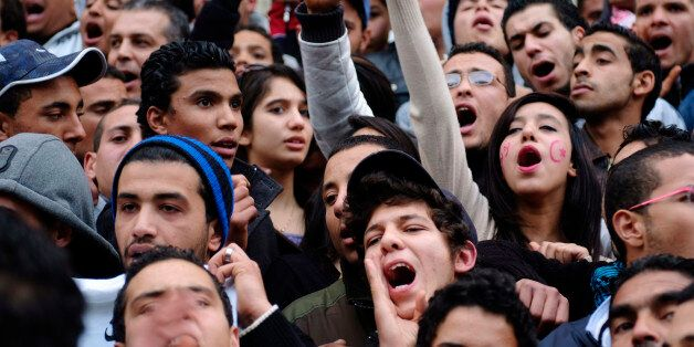 Tunisians celebrate the first year anniversary of the revolution in Tunis January 14, 2012. Tunisians...