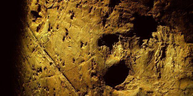 Dinosaur tracks 95 million years old. Lark Quarry near Winton, Queensland, Australia. (Photo by Auscape/UIG...