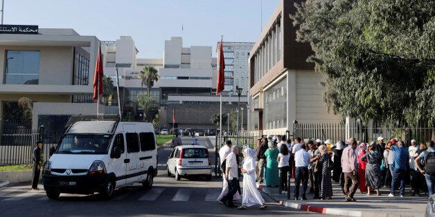 Relatives of Morocco's Hirak protest movement are seen during the trial at Casablanca tribunal, Morocco...