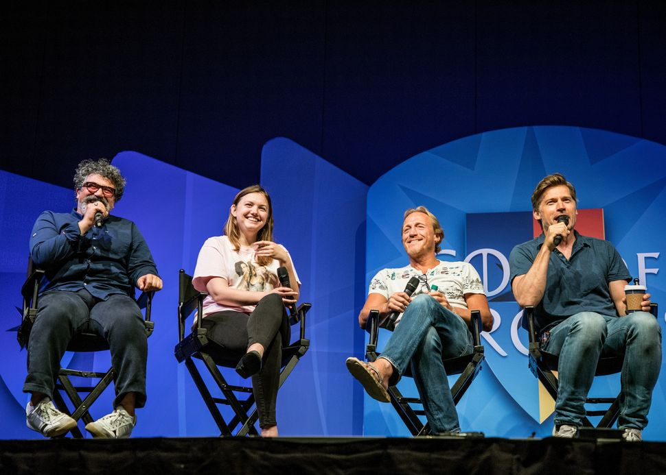 Actors Miltos Yerolemou, Hannah Murray, Jerome Flynn and Nikolaj Coster-Waldau answer questions during an interview for the 2