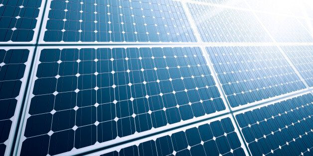 Solar panel close-up with strong sun