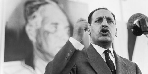 ALGERIA - CIRCA 1960: Ferhat Abbas In Algeria In 1960 - Ferhat ABBAS, president of the GPRA (Provisional...