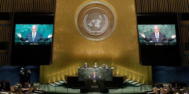 Prime Minister Benjamin Netanyahu of Israel addresses the United Nations General Assembly in the Manhattan...