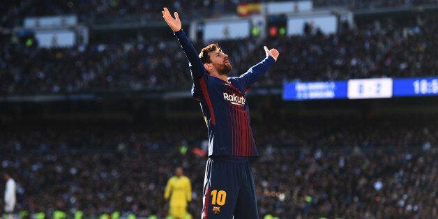 MADRID, SPAIN - DECEMBER 23: Lionel Messi of Barcelona celebrates after scoring his sides second goal...