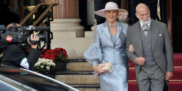 Prince and Princess Michael of Kent leave the Hotel de Paris to attend the religious wedding ceremony...