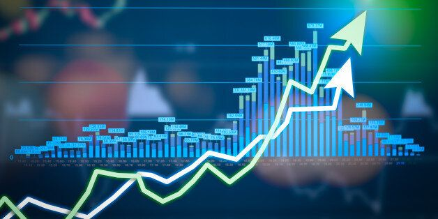 Stock market digital graph chart on LED display concept. A large display of daily stock market price...