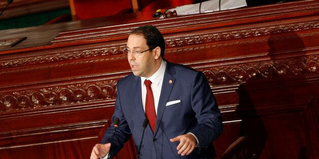 Tunisia's Prime Minister Youssef Chahed speaks at the Assembly of People's Representatives in Tunis,Tunisia...
