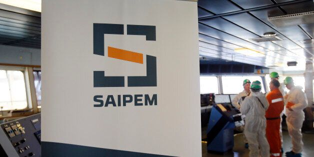 A Saipem logo in seen on the bridge of the Saipem 10000 deepwater drillship in Genoa's harbour, Italy,...