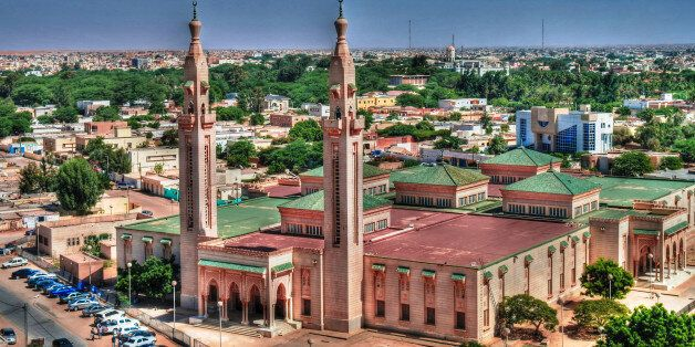 The Aerial view to Grand Mosque in Nouakchott in