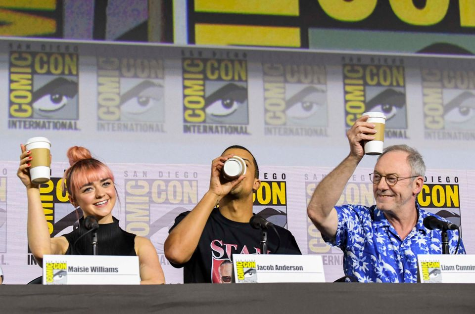 """Maisie Williams, Jacob Anderson, and Liam Cunningham at """"Game Of Thrones"""" Comic Con 2019...."""