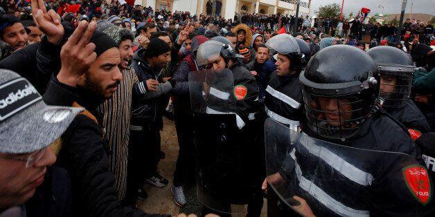 Protestations à Jerada après le décès de deux mineurs le 22 décembre. REUTERS/Youssef