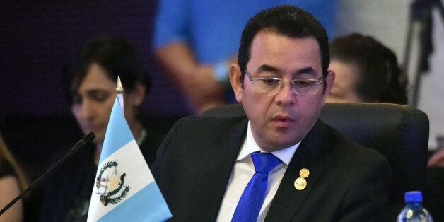 Guatemalan President Jimmy Morales, attends the inauguration ceremony of the Central American Integration...