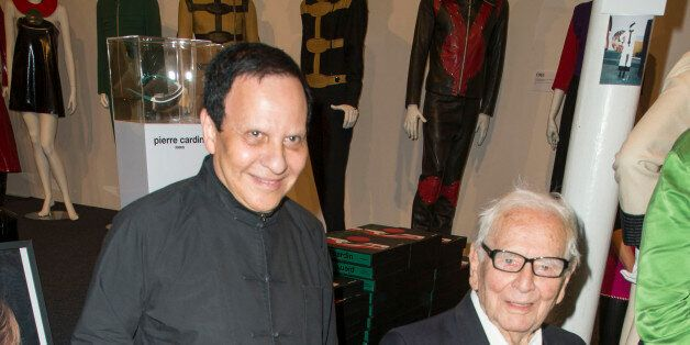PARIS, FRANCE - OCTOBER 01: Azzedine Alaia and Pierre Cardin attend the 'Pierre Cardin' By Jean-Pascal...