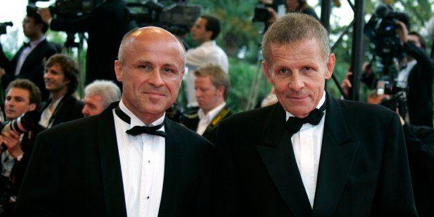 Brothers Olivier (L) and Patrick Poivre d'Arvor arrive for a gala screening of U.S. director James Gray's
