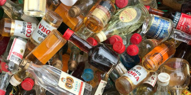Siracusa, Italy - April 9th 2017: Flea Market. A bunch of liquor little bottles of several brands, on