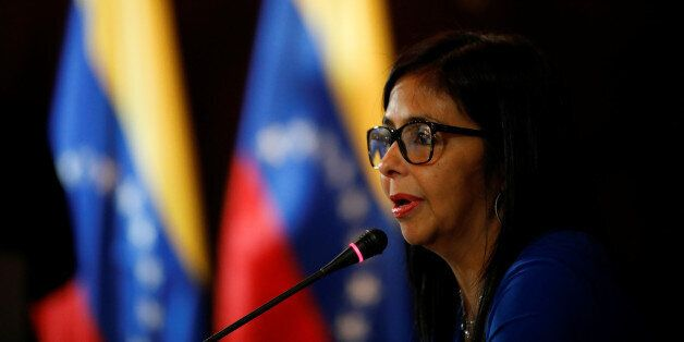 Delcy Rodriguez, President of the National Constituent Assembly talks to the media during a news conference...