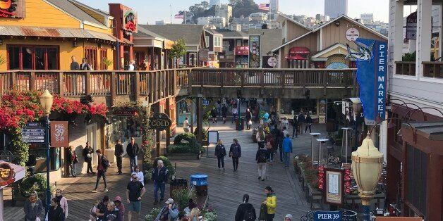 Coit tower & Transamerica Pyramid are seen from Pier 39 at San Francisco Fisherman Wharf on October 18,...