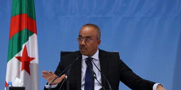 Minister of the Interior Noureddine Bedoui presents the official results of the local elections at the...