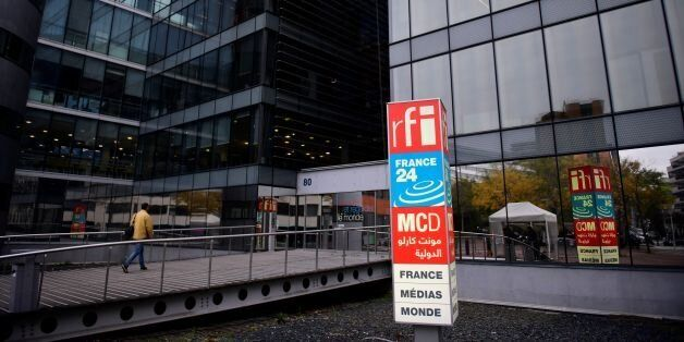 A picture shows the headquarters of French national audiovisual media company group, France Medias Monde...