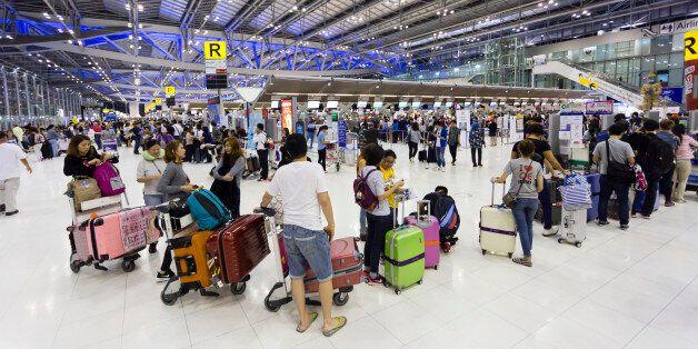 Bangkok, Thailand - March 15, 2017: Suvarnabhumi International Airport departure hall, also known as...