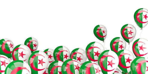 Flying balloons with flag of algeria isolated on
