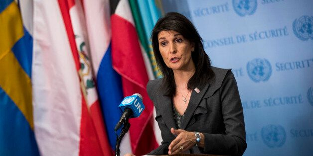 NEW YORK, NY - JANUARY 02: U.S. ambassador to the United Nations Nikki Haley speaks during a brief press...