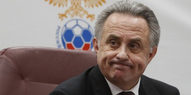 Russian Deputy Prime Minister Vitaly Mutko reacts during a news conference after the Russian Football...